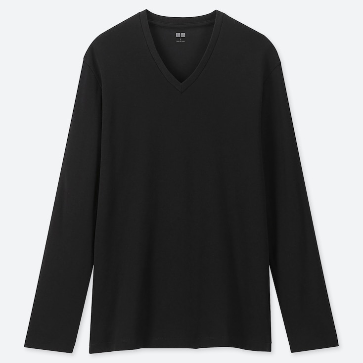 MEN SOFT TOUCH V-NECK LONG-SLEEVE T-SHIRT, BLACK, large