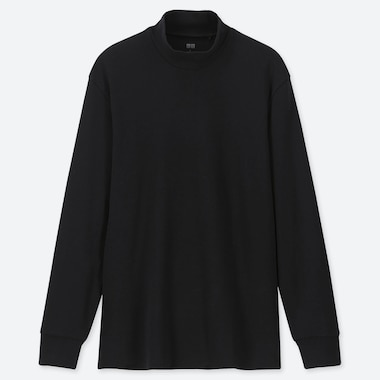 MEN SOFT TOUCH MOCK NECK LONG-SLEEVE T-SHIRT, BLACK, medium