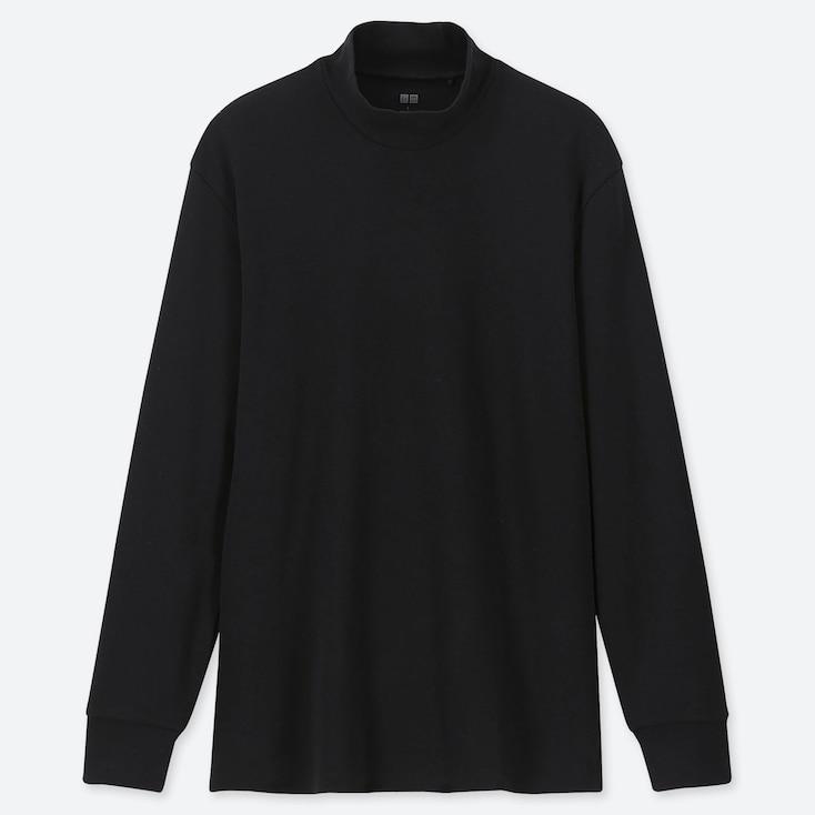 MEN SOFT TOUCH MOCK NECK LONG-SLEEVE T-SHIRT, BLACK, large