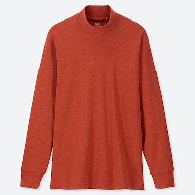 MEN SOFT TOUCH MOCK NECK LONG-SLEEVE T-SHIRT, ORANGE, medium