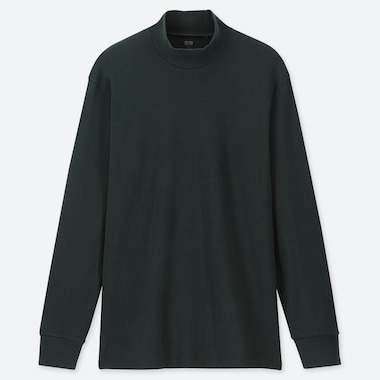 MEN SOFT TOUCH MOCK NECK LONG-SLEEVE T-SHIRT, DARK GREEN, medium