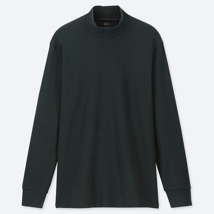 MEN SOFT TOUCH MOCK NECK LONG-SLEEVE T-SHIRT, DARK GREEN, large