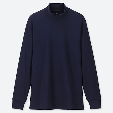 MEN SOFT TOUCH MOCK NECK LONG-SLEEVE T-SHIRT, NAVY, medium