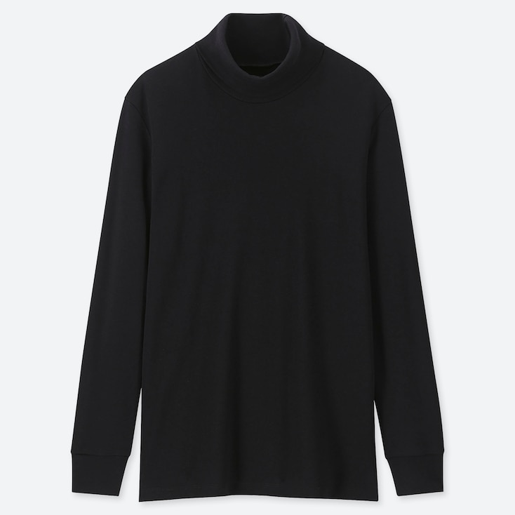 MEN SOFT TOUCH TURTLENECK LONG-SLEEVE T-SHIRT, BLACK, large