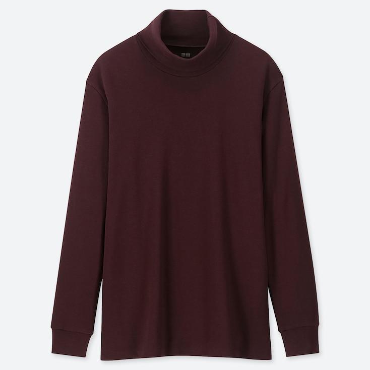 Men Soft Touch Turtleneck Long-sleeve T-shirt, Wine, Large
