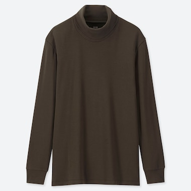 MEN SOFT TOUCH TURTLENECK LONG-SLEEVE T-SHIRT, OLIVE, medium