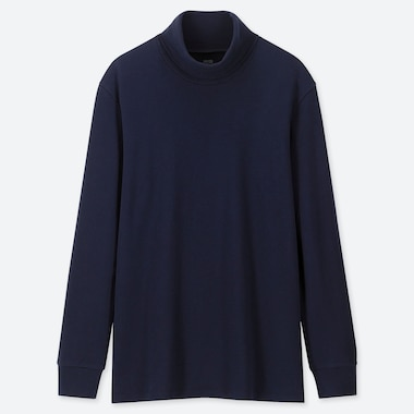 Men Soft Touch Turtleneck Long-Sleeve T-Shirt, Navy, Medium