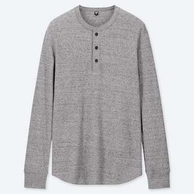 MEN WAFFLE HENLEY NECK LONG-SLEEVE T-SHIRT, GRAY, medium