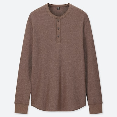 MEN WAFFLE HENLEY NECK LONG-SLEEVE T-SHIRT, BROWN, medium