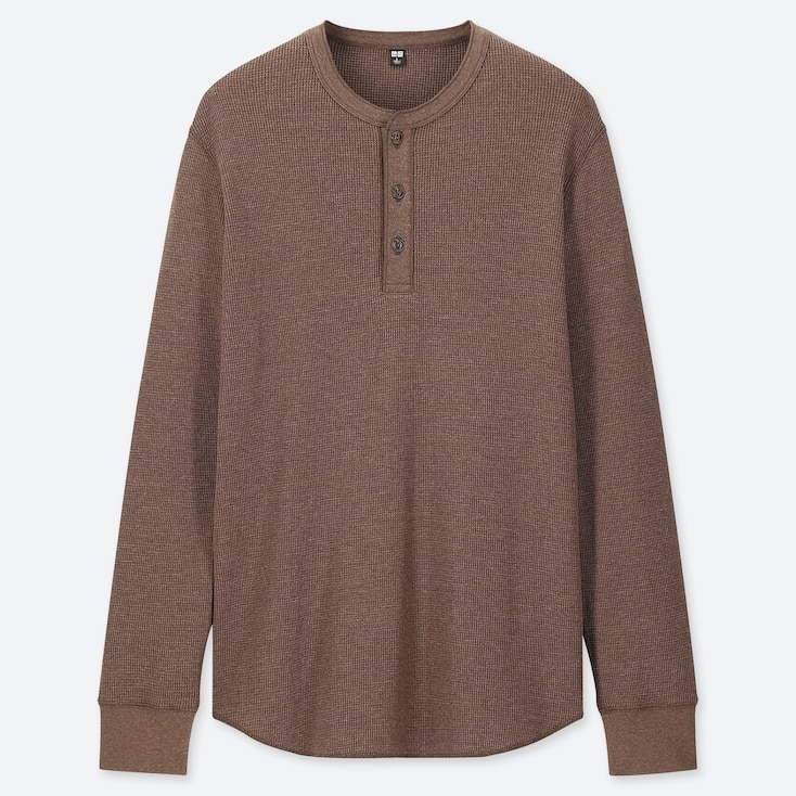 MEN WAFFLE HENLEY NECK LONG-SLEEVE T-SHIRT, BROWN, large