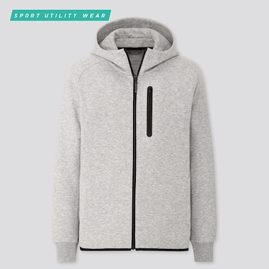 MEN DRY STRETCH SWEAT FULL-ZIP HOODIE, GRAY, medium