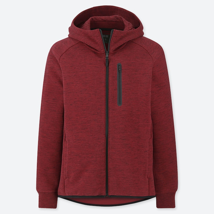 MEN DRY STRETCH SWEAT FULL-ZIP HOODIE, RED, large