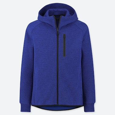 Men Dry Stretch Sweat Full-Zip Hoodie, Blue, Medium