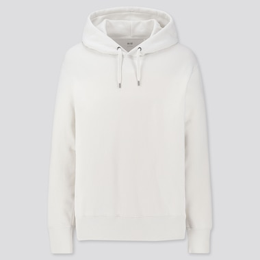 Men Long-Sleeve Hooded Sweatshirt, Off White, Medium