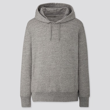 MEN LONG-SLEEVE HOODED SWEATSHIRT, GRAY, medium