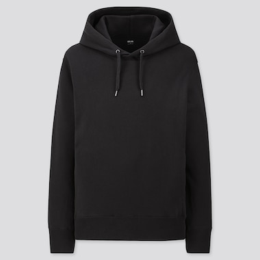 MEN LONG-SLEEVE HOODED SWEATSHIRT, BLACK, medium