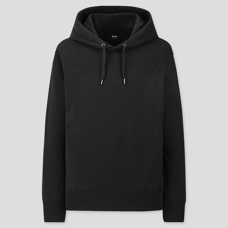 Men Long-Sleeve Hooded Sweatshirt, Black, Large