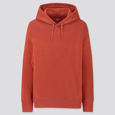Men Long-Sleeve Hooded Sweatshirt, Orange, Medium