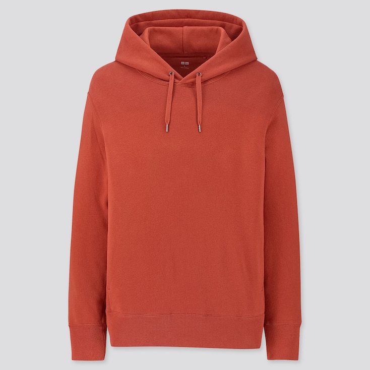 MEN LONG-SLEEVE HOODED SWEATSHIRT, ORANGE, large