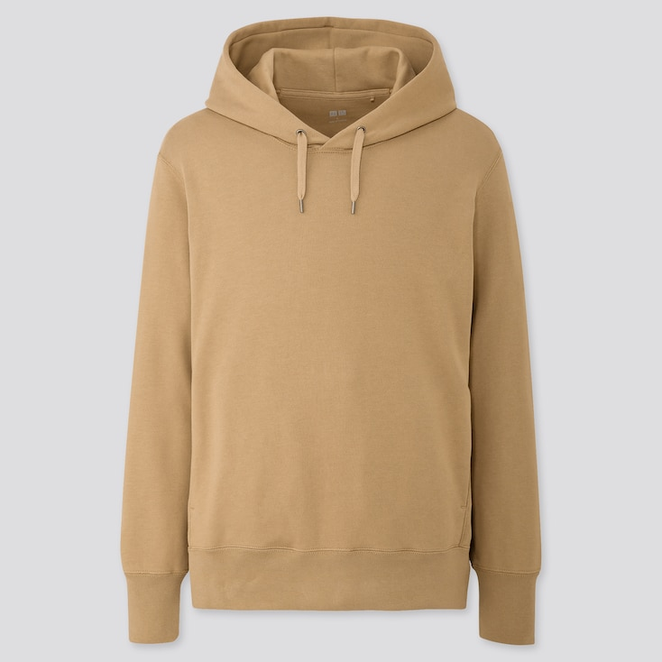 MEN LONG-SLEEVE HOODED SWEATSHIRT, BEIGE, large