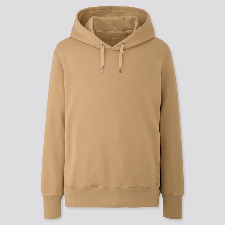 Men Long-sleeve Hooded Sweatshirt, Beige, Large