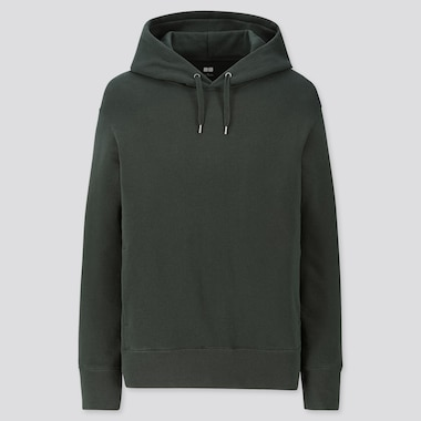 MEN LONG-SLEEVE HOODED SWEATSHIRT, DARK GREEN, medium