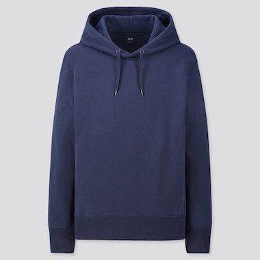 Men Long-Sleeve Hooded Sweatshirt, Blue, Medium