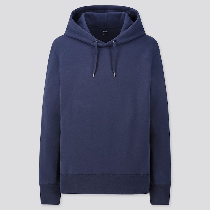 Men Long-Sleeve Hooded Sweatshirt, Blue, Large