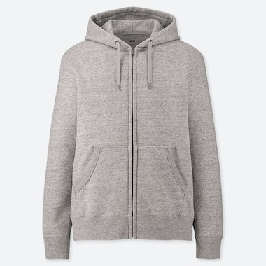 MEN SWEAT LONG-SLEEVE FULL-ZIP HOODIE, GRAY, medium
