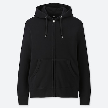 MEN LONG-SLEEVE FULL-ZIP HOODED SWEATSHIRT, BLACK, medium