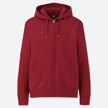 MEN LONG-SLEEVE FULL-ZIP HOODED SWEATSHIRT, RED, medium