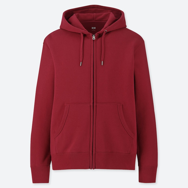 MEN LONG-SLEEVE FULL-ZIP HOODED SWEATSHIRT, RED, large