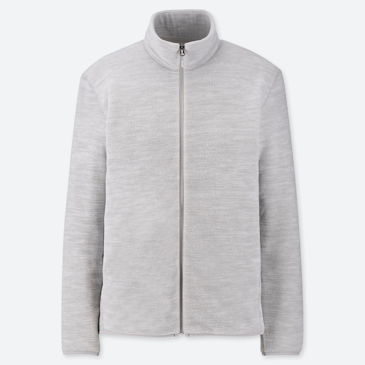 Men Fleece Long-sleeve Full-zip Jacket, Light Gray, Large