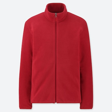 MEN FLEECE LONG-SLEEVE FULL-ZIP JACKET, RED, medium
