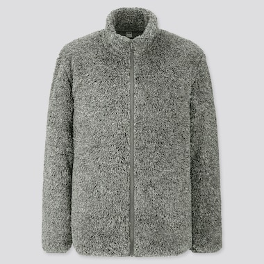Men Fluffy Yarn Fleece Full-Zip Jacket, Gray, Medium