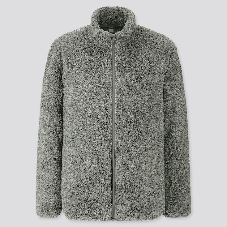 Men Fluffy Yarn Fleece Full-Zip Jacket, Gray, Large