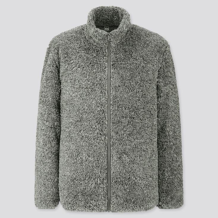 Men Fluffy Yarn Fleece Full-zip Jacket, Gray, Large