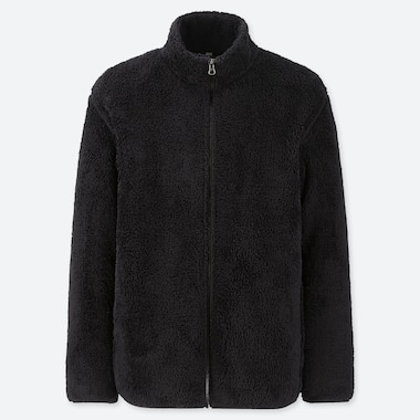 Men Fluffy Yarn Fleece Full-Zip Jacket, Black, Medium