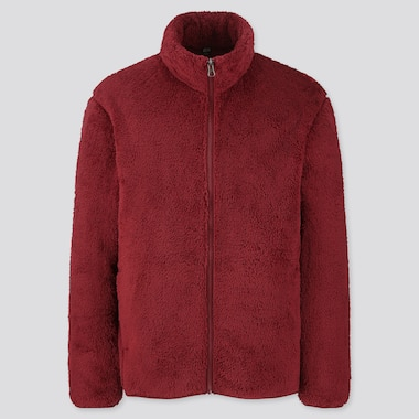 Men Fluffy Yarn Fleece Full-Zip Jacket, Red, Medium