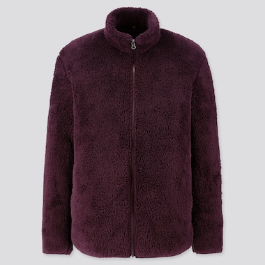 MEN FLUFFY YARN FLEECE FULL-ZIP JACKET, WINE, medium