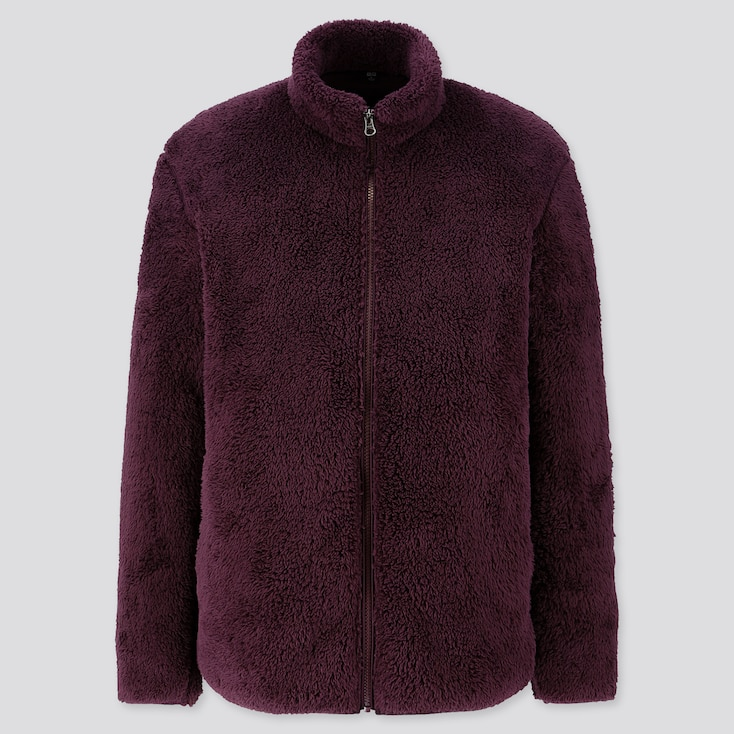Men Fluffy Yarn Fleece Full-Zip Jacket, Wine, Large