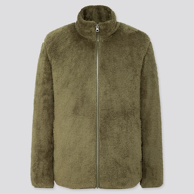 Men Fluffy Yarn Fleece Full-Zip Jacket, Olive, Medium