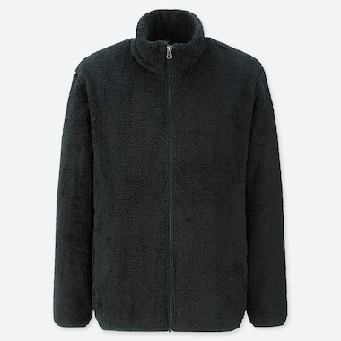 MEN FLUFFY YARN FLEECE ZIPPED JACKET