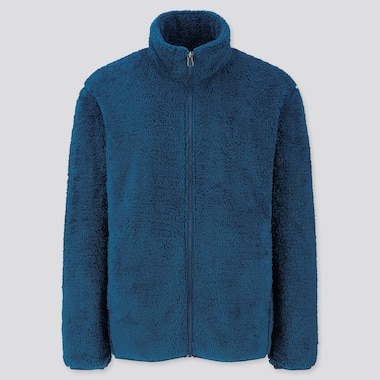 Men Fluffy Yarn Fleece Full-Zip Jacket, Blue, Medium