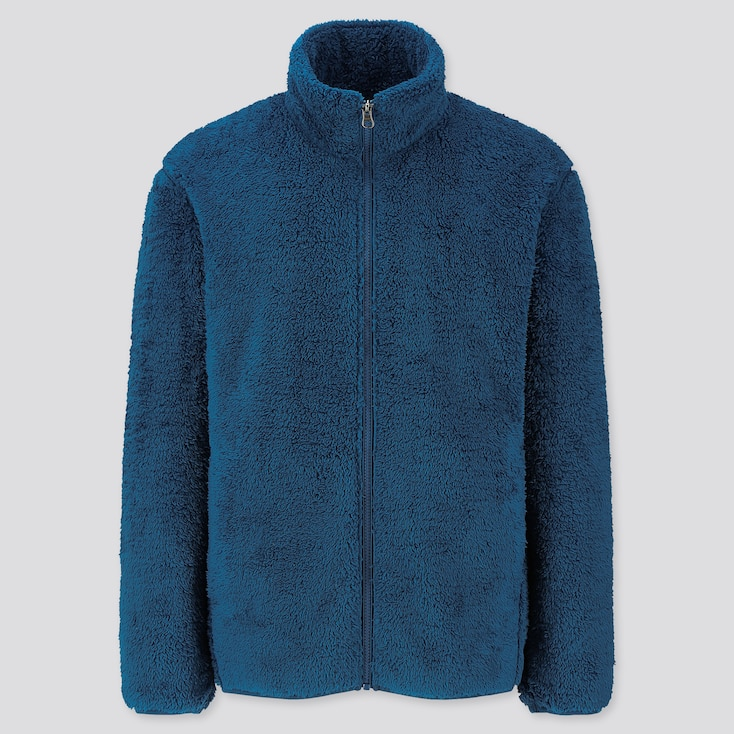 Men Fluffy Yarn Fleece Full-Zip Jacket, Blue, Large