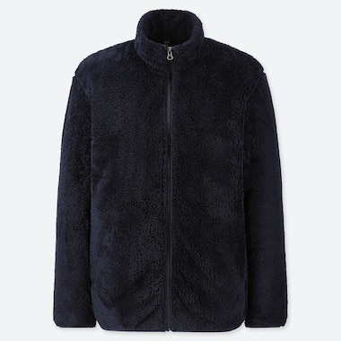 MEN FLUFFY YARN FLEECE FULL-ZIP JACKET, NAVY, medium