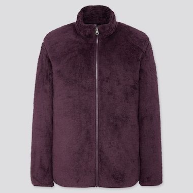 Men Fluffy Yarn Fleece Full-Zip Jacket, Dark Purple, Medium