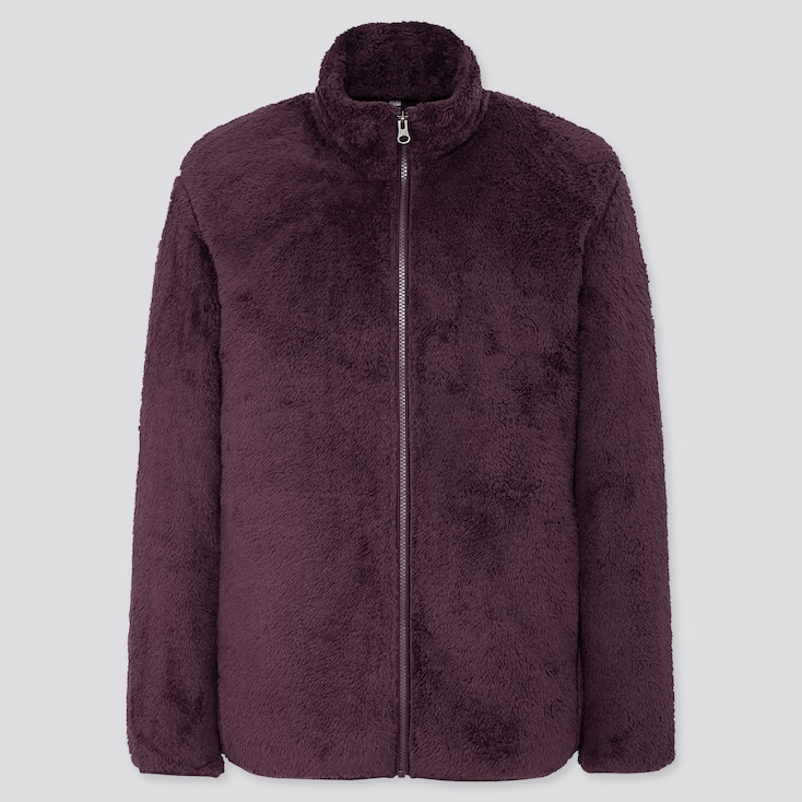 Men Fluffy Yarn Fleece Full-Zip Jacket, Dark Purple, Large