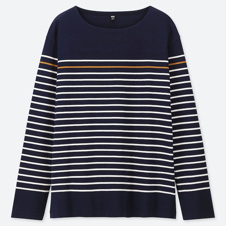 MEN WASHED STRIPED LONG-SLEEVE T-SHIRT, NAVY, large
