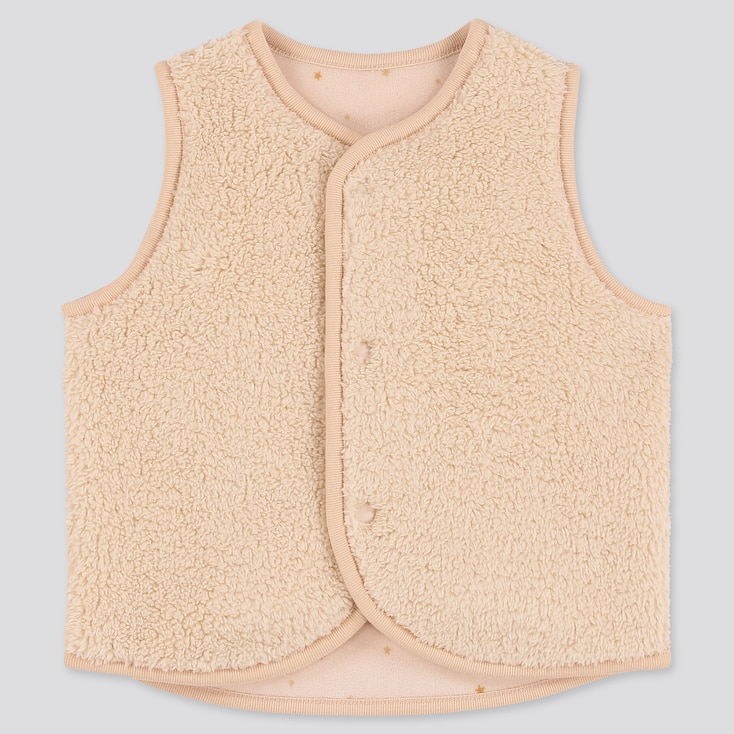 NEWBORN FLUFFY YARN FLEECE REVERSIBLE VEST, BEIGE, large
